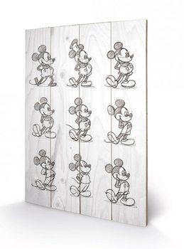 Obraz na drewnie Myszka Miki (Mickey Mouse) - Sketched - Multi