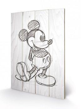 Obraz na drewnie Myszka Miki (Mickey Mouse) - Sketched - Single