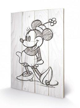 Obraz na drewnie Myszka Minnie (Minnie Mouse) - Sketched - Single