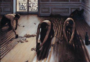 Obrazová reprodukce Parketáři - Hoblování podlahy, 1875