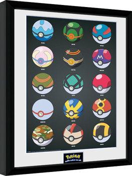 Pokemon - Pokeballs zarámovaný plakát