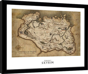 Skyrim - Map zarámovaný plakát