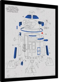 Star Wars: Poslední z Jediů - R2-D2 Exploded View zarámovaný plakát