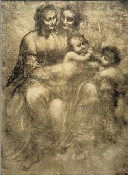 The Virgin and Child with St Anne and St John the Baptist - Burlington House Cartoon Obrazová reprodukcia