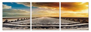 Obraz  Západ slunce nad koleje