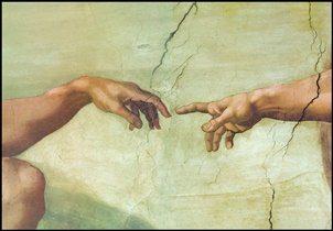 Obrazová reprodukce Zrození Adama (část)