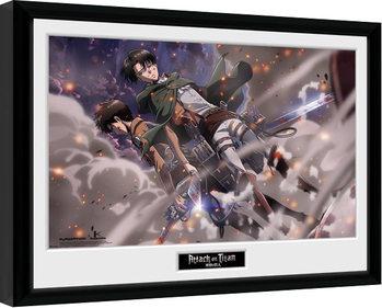 Zarámovaný plakát Attack On Titan - Smoke Blast