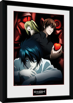 Zarámovaný plakát Death Note - Light L and Misa