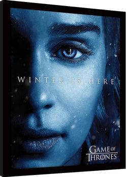 Oprawiony plakat Gra o tron - Winter is Here - Daenerys
