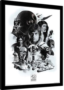 Oprawiony plakat Gwiezdne wojny 40th Anniversary - Montage