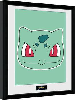 Oprawiony plakat Pokemon - Bulbasaur Face
