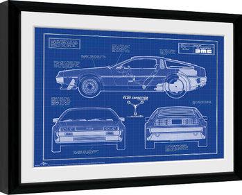Oprawiony plakat Powrót do przyszlosci - Blueprint