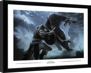 Zarámovaný plakát Skyrim - Troll Fight