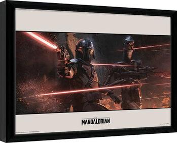 Zarámovaný plakát Star Wars: The Mandalorian - Battle