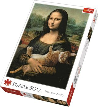 Puzzle Mona Lisa and Purring Kitty