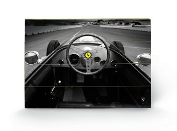 Ferrari F1 - Vinatge Quart Panneau en bois
