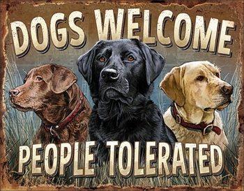Panneau métallique Dogs Welcome