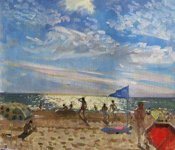 Cuadros en Lienzo Blue flag and red sun shade, Montalivet