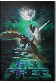 Cuadros en Lienzo Cómo entrenar a tu dragón 3 - Fly Free In The Moonlight
