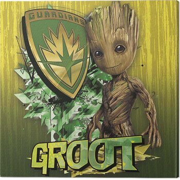 Cuadros en Lienzo Guardians of The Galaxy Vol 2 - Groot Shield