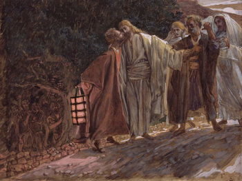 Cuadros en Lienzo Hail Master, and He Kissed Him, illustration for 'The Life of Christ', c.1886-94