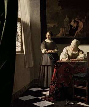 Cuadros en Lienzo Lady writing a letter with her Maid, c.1670