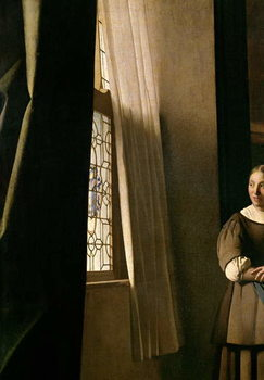 Cuadros en Lienzo Lady writing a letter with her Maid, c.1670 (oil on canvas)