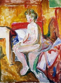Cuadros en Lienzo Nude on edge of bed, 1916