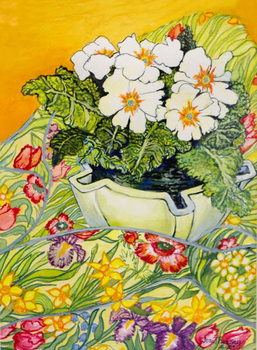 Cuadros en Lienzo Pale Primrose in a Pot with Spring-flowered Textile,2000