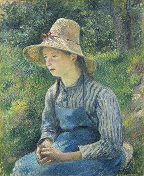 Cuadros en Lienzo Peasant Girl with a Straw Hat, 1881