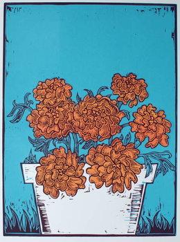 Cuadros en Lienzo Pot of Marigolds, 2014,