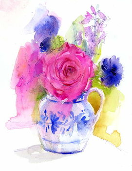 Cuadros en Lienzo Rose and Cornflowers in Pitcher, 2017