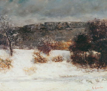 Cuadros en Lienzo Snowy Landscape (Vallée de la Loue), c.1876