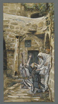 Cuadros en Lienzo The Blind of Capernaum, illustration from 'The Life of Our Lord Jesus Christ'