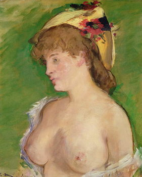 Cuadros en Lienzo The Blonde with Bare Breasts, 1878