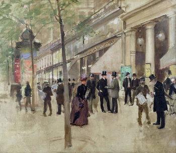 Cuadros en Lienzo The Boulevard Montmartre and the Theatre des Varietes, c.1886