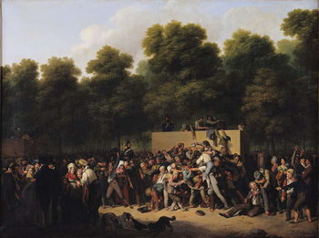 Cuadros en Lienzo The Distribution of Food and Wine on the Champs-Elysees, 1822