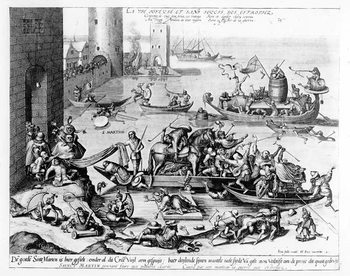 Cuadros en Lienzo The Happy and Trouble Free Life of the Cripple (engraving)