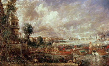 Cuadros en Lienzo The Opening of Waterloo Bridge, Whitehall Stairs, 18th June 1817