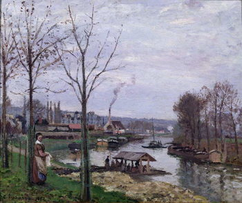 Cuadros en Lienzo The Washing House, Pontoise Port-Marly, or The Wash-house, 1872