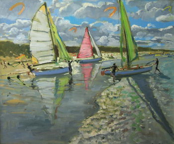 Cuadros en Lienzo Three Sailboats, Bray Dunes, France