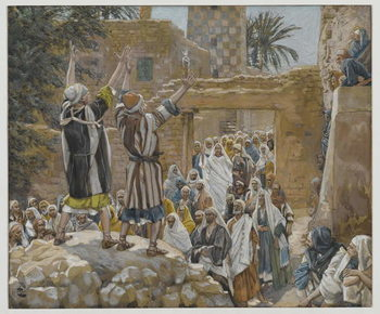 Cuadros en Lienzo Two Blind Men at Jericho, illustration from 'The Life of Our Lord Jesus Christ', 1886-96