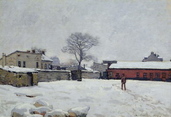 Cuadros en Lienzo Under Snow: the farmyard at Marly-le-Roi, 1876