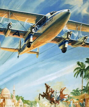 Cuadros en Lienzo Unidentified bi-plane flying over North Africa?