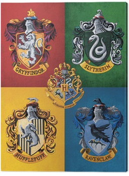 Pinturas sobre lienzo  Harry Potter - Colourful Crests