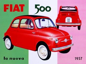FIAT 500 Placă metalică