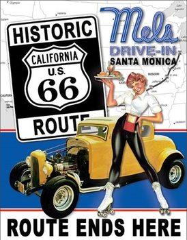 Placă metalică Mel's Diner - Route 66