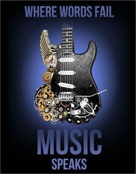 Placă metalică Music Speaks
