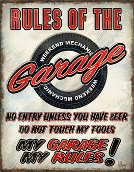Placă metalică Rules of the Garage