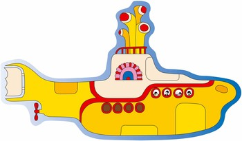SHAPED YELLOW SUBMARINE Placă metalică